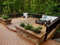 creative backyard fire pit landscape design with trex outdoor deck
