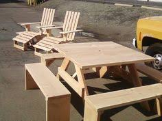 4ft square Douglas Fir table with 4 separate 4ft benches painted in