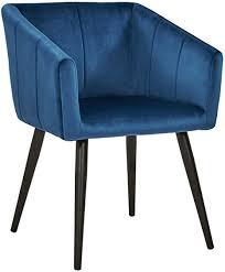 esszimmerstuhl aus stoff samt farbauswahl retro design stuhl mit rückenlehne sessel metallbeine duhome 8065 farbe dunkel blau material samt