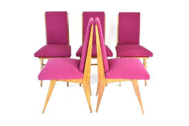 Dining Chairs Purple Faux Leather French Cane Back