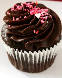 Download Chocolate Cupcake With Pink Heart Stock Image of sugary dessert
