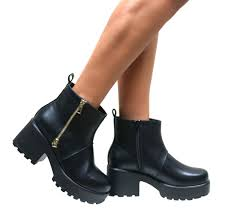 womens ladies chelsea ankle boots chunky cleated platform sole