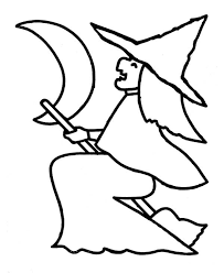 Halloween Witch Figure On Colouring Page