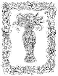Illustration Vase Of Flowers In A Frame Coloring Books For Anti