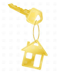 Golden House Shaped Trinket And Door Key Royalty Free Vector Clip Art