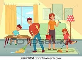 familie putzen house vater mutter und kinder putzen