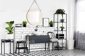pflanzen sie auf tisch in schwarz weiß badezimmer interieur mit karierten boden und spiegel echtes foto stockfoto und mehr bilder badezimmer