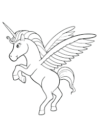 Unicorn With Wings Coloring Pages Page Photo To Print Pegasus Colouring