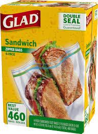 Glad Sandwich Plastic Zipper Bags 4 pk 115 ct Clear Blue