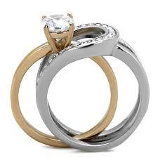 Adele Two Tones Rose Gold Interlocking CZ Stone Wedding Ring Set