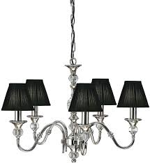 Black Shade Chandelier Nickel 5 Light Classic With Shades Drum Dining Room