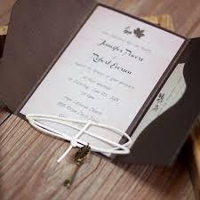 Rustic Maple Leave Pocket Vintage Key Wedding Invitation EWPI190