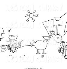 Vector Western Clip Art Of A Coloring Page Outline Robber Running Towards His Horse