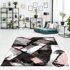 teppich flachflor läufer vintage abstrakt patchwork modern design in grau rot blau rosa für wohnzimmer