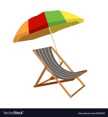 Sunbed With Umbrella Flat Icon Cartoon Vector Image