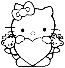 Valentine Hello Kitty With Heart Coloring Picture For Kids