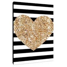Glitter Filled Heart With Stripes