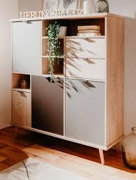 highboard kommode eiche engrain und grau wohnzimmer schrank 120 x 141 cm epik