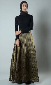 brocade full pleated maxi skirt
