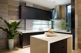 Modern L Shaped Kitchen With Black Cabinets And White Counter Island
