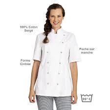 veste cuisine femme manche courte veste de cuisine femme manches courtes cintrée coton sergé