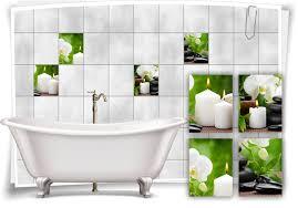 badezimmer fliesen aufkleber spa wellness kerzen steine