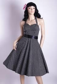 50s Polka Dot SmallWhiteDots Black Halterneck Swing Dress 81 Zoom