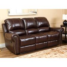 Darrin Leather Reclining Sofa With Console by Abbyson Lexington Dark Burgundy Italian Leather Reclining Loveseat