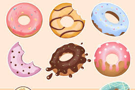 Cute Donuts Clipart Set