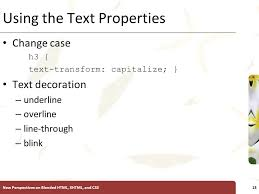 Text Decoration Underline More Space by Introductory Tutorial 3 Using Css To Format Multiple Pages Ppt