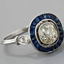 Antique Platinum Art Deco Style Sapphire And 109ct Old Mine Cut Diamond Engagement Ring