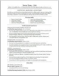Sample CNA Resume