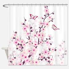 Cherry Blossom Curtain Blue by Cherry Blossom Shower Curtains Cafepress