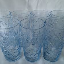 Blue Drinking Glass Ice Color 70s Modern Style Ripple Te