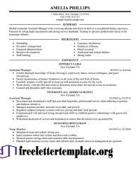 Unforgettable Assistant Manager Resume Examples To Stand Out Fast Food Sample