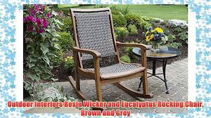 Outdoor Interiors Resin Wicker And Eucalyptus Rocking Chair Brown And Grey Resin Wicker Porch Rockers Easy Care Rocker Charleston Rocking Chair Camel Back Chairs Set Of Two White Summer Outdoor Belwood With Floral Cushions 3pc Cushion And End Table Faux Book Pocket Coral Coast With Khaki The Portside Plantation All Weather Tortuga