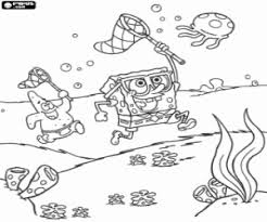 Jellyfish Hunting With SpongeBob Sandy Cheeks Against The Fish Coloring Page