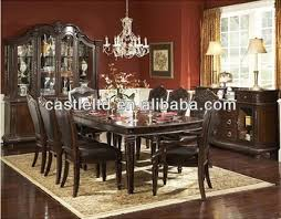 Unique Original Luxury Dark Cherry Carved Dining Set With Buffet And Hutch High End