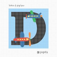 Needlepoint Canvas Letter D Airplane
