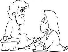 Washing Feet Coloring Pages Jesus The Of