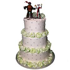 1354 3 Tier Wedding cake with green tipped flowers ABC Cake Shop & Bakery