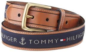 Tommy Hilfiger Men s Ribbon Strap Inlay Anchor Logo Leather