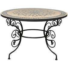moroccan outdoor mosaic tile dining table on iron base 47 in