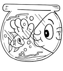 Fish Bowl Funny Man Eye In Coloring Page