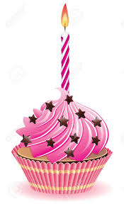 vector pink cupcake with chocolate sprinkles and burning candle Stock Vector