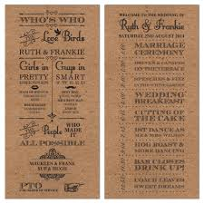 50 Personalised Rustic Vintage Brown Wedding Day Order Of Service Cards