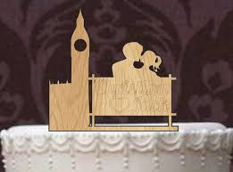 Rustic Wedding Cake Topper Personalized Funny Custom Big Ben London Silhouette