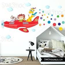 stickers chambre ado sticker mural chambre fille avion avec animaux sticker