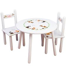 Kids Woodland Animal Table & Chairs Set Kids Furniture Forest Nursery  Bedroom Play Room Child's Round Table Personalized Chairs TABLESET-218