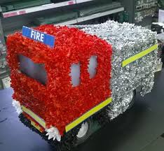 Fire Engine 3D Funeral Flowers Tribute